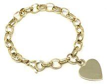 "14k Yellow Gold Heart Charm Rolo Link Chain Bracelet 7"" 15 grams"