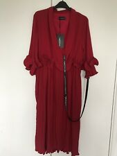 Pretty Little Thing Red Frill Detail Pleated Midi Dress Size UK 14