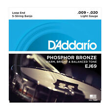 D'Addario EJ69 5-String Banjo Guitar PB Light Loop Strings Free US Shipping J69