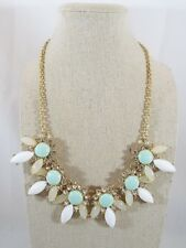Gold Tone Mint Green & White Cabochon Clear Rhinestone Bib Statement Necklace