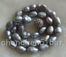 kultiviert 9-11mm graue barock Süßwasser-Perlenkette 17-Zoll-Magnetverschluss
