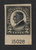 1923 HARDING imperf Sc 611 plate number MNH  Hebert CV $35 as NH
