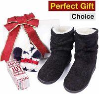 LongBay Women's Chenille Knit Bootie Slippers Cute Plush Fleece, Black, Size 5.0