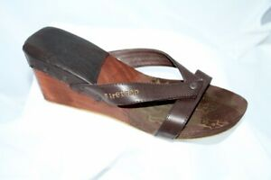 Firetrap Isis Brown Wooden Wedge Mules Shoes Size 5