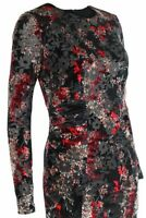 Womens Floral Abstract Print Long Sleeve Gathered Side Velvet Bodycon Dress