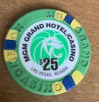 MGM Grand Vintage $25 Casino Chip Las Vegas Gambling Green Blue Yellow White