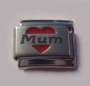 9mm  Italian Charm L104  Mum with love heart  Fits Classic Size Bracelet