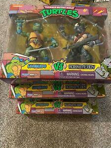 Playmates Teenage Mutant Ninja Turtles Leonardo VS Rocksteady Action Figures