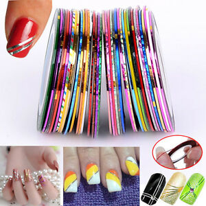 30Pcs Mixed Colors Rolls Striping Tape Line DIY Nail Tips Art St Decoration J6V1