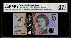 AUSTRALIA - PICK 62a - 5 DOLLARS - 2016 - PMG SUPERB GEM UNC 67 EPQ - QUEEN - BF