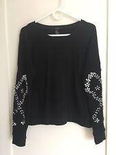 Forever 21 Rhinestone French Terry Pullover Sweatshirt Size Medium Black