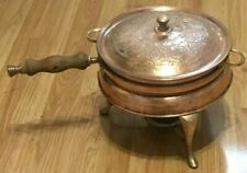 Copper Nader Factory Tehran Iran Fondue Chafing Dish W/Decorative Lid/Stand