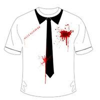 Men Boys  Adult Halloween Bleeding Bullet Scar Printed T-Shirt With Black Tie