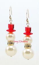 SWAROVSKI PEARL Christmas SNOWMAN Earrings White 925 Sterling Silver Red