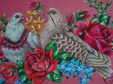 ACEO Love Doves bird Valentine Victorian Rose print