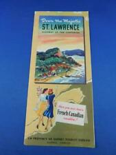 DOWN THE MAJESTIC ST LAWRENCE MAP ADVERTISING BROCHURE HIGHWAY QUEBEC TOURIST