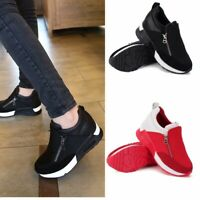 Women's Wedge Hidden Heel Shoes Casual Running Sneakers Zip Sport Shoes Trainers