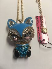 Smiley Fox Charm Rhinestone Necklace-Bj18021 Betsey Johnson Crystal Blue Enamel