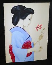 "'70s Hawaii Print 47/300 Painting ""Girl in Kimono"" by MDH Margaret Keane (JPa"