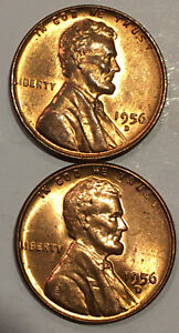 1956-D - LINCOLN WHEAT PENNYS - LOT OF (2) THREE - SEE PICS - AU