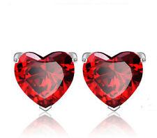 Ladies Pretty Heart Sterling Silver Crystal Stud Earrings Jewellery 2 Colours