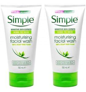 2 x Simple Moisturising Facial Wash 100% Soap Free Foam (2 x 150ml)