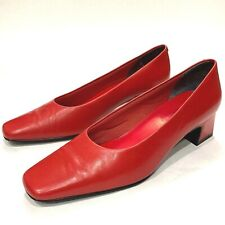 Nordstrom Women's size 6.5 Red Leather Pump1980s Squaretoe kitten heel
