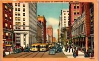 Heart of Downtown Cleaveland OH Euclid Ave Vintage Postcard AU1