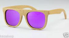 Bamboo Wood Flat Top Square  Purple Mirror Polarized Lens Sunglasses Cat3 UV400