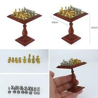 HB- 1/6 1/12 Miniature Dollhouse Magnetic Chess Board Table Set Kids DIY Toy Bea