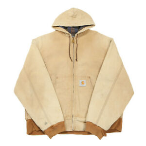 Vintage CARHARTT Flannel Lined Active Jacket | Large | Workwear Hood Duck Canvas
