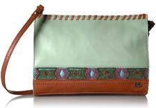 THE SAK NWT $129 Mint Glass Beaded Iris Leather Crossbody Shoulder Bag Clutch
