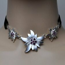 Edelweiss Necklace Traditional Jewelry Choker Purple Violet Black Necklace
