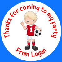 PERSONALISED GLOSS FOOTBALL BOYS BIRTHDAY PARTY BAG FOOD SWEET CONE STICKERS