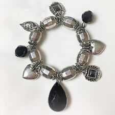 Chunky Silver Metal Resin & Black Glass Bead Heart Charm Bracelet Bijoux  B2