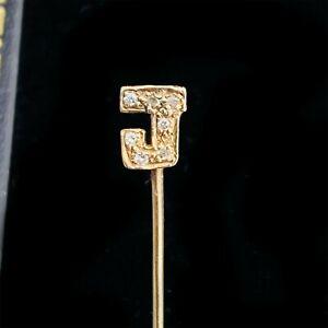 Vintage 9ct, 9k, 375 Gold Diamond initial 'J' Stick, tie, cravat, lapel pin