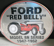 FORD RED BELLY TRACTOR, ROUND 12 INCH METAL SIGN,, APO &FPO WELCOME