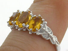 R225 Genuine Solid 9K White Gold NATURAL Citrine Trilogy Three-stone Ring size N