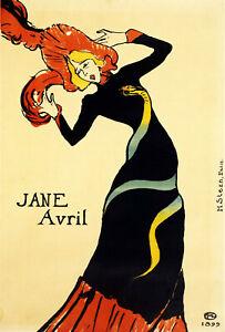 print  poster framed canvas vintage jane avril lady painting art 1899