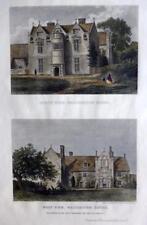 Waterston House Dorset c1863 Autentico Antico incisione di J H le keux