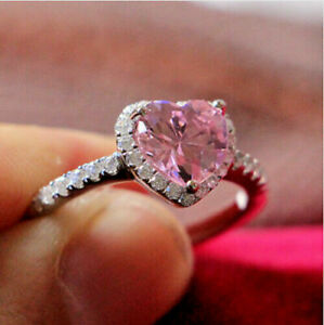 2Ct Heart Cut Pink Sapphire Diamond Halo Engagement Ring 14K White Gold Finish
