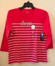 NWT Kim Rogers Womens XL Red White Striped Silver Sparkle Cheers Cute Blouse Top