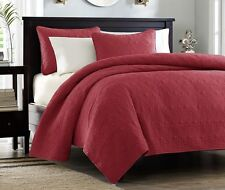 RUBY RED MATELASSE 3pc Full Queen QUILT SET : COTTON FILL COTTAGE COVERLET BED