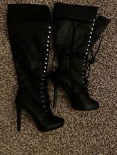 Adrietta Womens Lace Up Boots High Heels Size 8.5