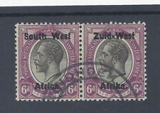SOUTH WEST AFRICA 1923 6d BLACK AND VIOLET  SETTING I USED PAIR   SG 6
