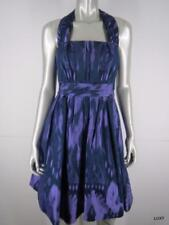 Kay Unger Halter Dress NEW Size 4 S Purple Blue Ikat Sleeveless Ruched Fit Flare