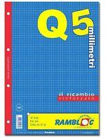 RICAMBIO RINFORZATO QUADRETTI 5mm CON MARGINE (rigatura Q) UNA SCATOLA DA 40 PZ.