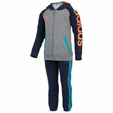 Adidas Boys 2 Piece Full Zip Hoodie & Pant Sweatsuit with SPELLOUT Sleeve sz 2T