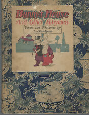 1900 Bunny's House & other Rhymes by Bridgman ~ antique book & Japanese textile