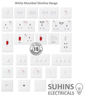 PREMIUM White Flat Slimline Moulded Electrical Sockets and Switches USB